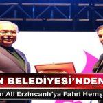Şair Dursun Ali Erzincanlı'ya Fahri Hemşehrilik Beratı